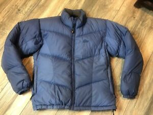 0bf5a8f68 Details about Lowe Alpine Grey Goose Down Filled Puffer Ribbed Jacket  Women's Large Blue EUC