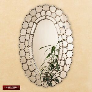 """Large Wall Oval Mirror style Cuzcaja, """"Astral King Sun""""- wood bathed Silver Leaf"""
