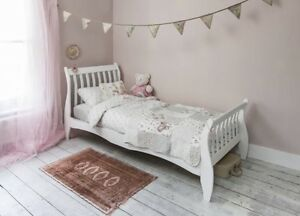 Single White Sleigh Wooden Bed Girls Princess Vintage New