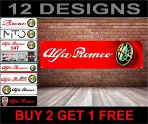 Alfa-Romeo-Banner-Officina-Garage-Meccanico-Meccanico-PVC-Adesivo