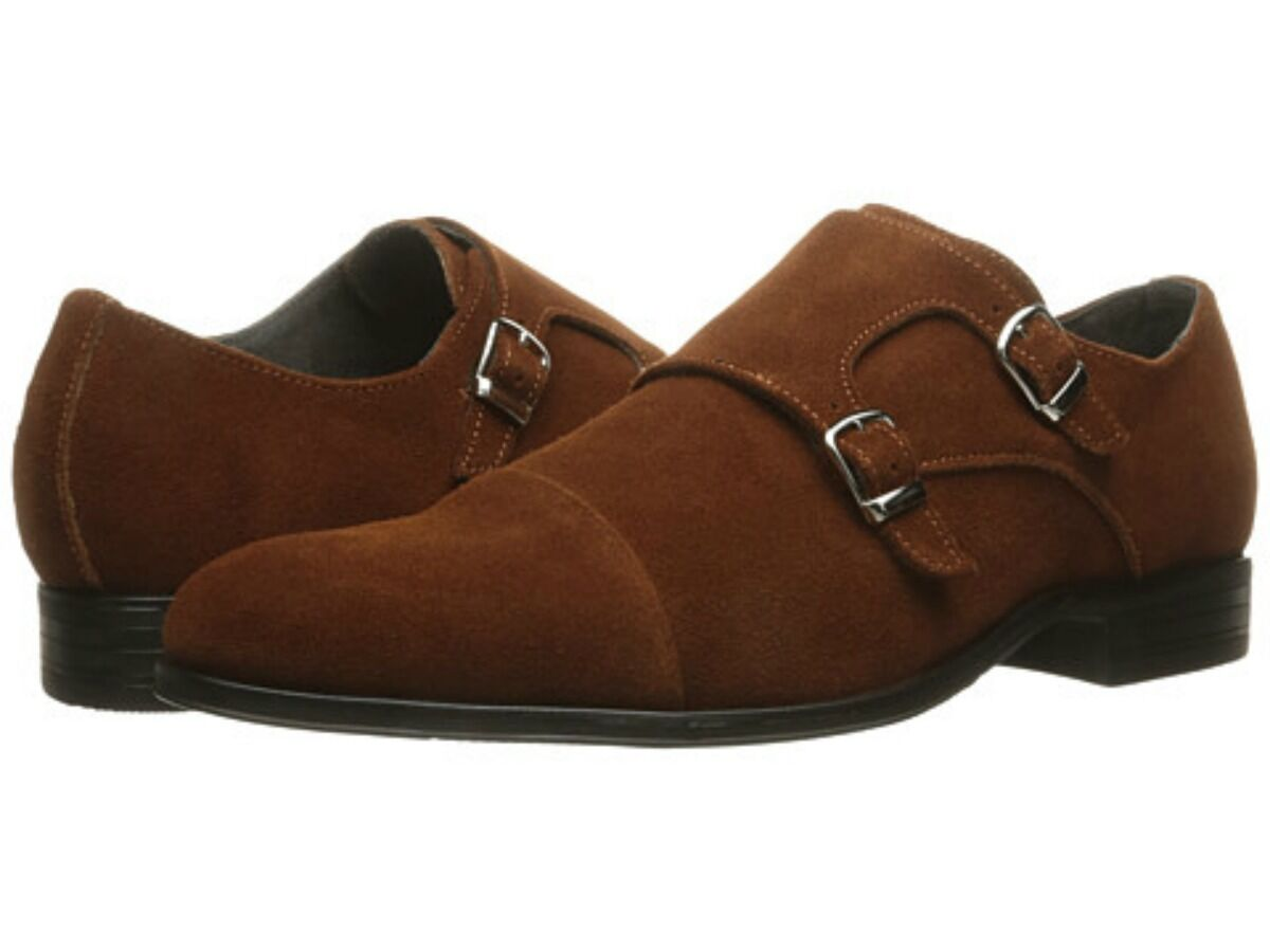Stacy Adams Uomo Slocomb Double Monk Strap Dress Shoes Cognac Suede 25103-221