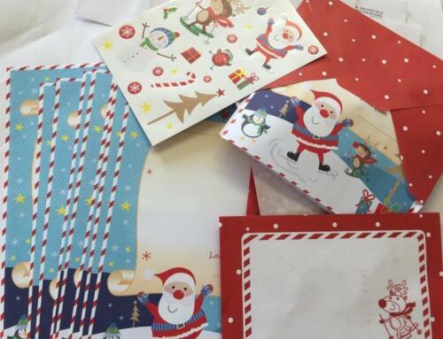 10 X Noël Merci lettre feuilles Enfants Noël enveloppe stickers crafts