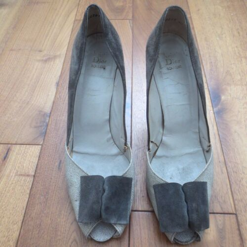 Size 39 Suede Women's Bow Dior Eu Grey Lovely Vintage Shoes Uk 6 Detail q4CgwTU