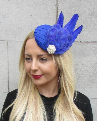 Royal Indigo Blue Statement Feather Fascinator Races Ascot Hat Headpiece 1599