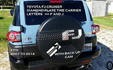 Toyota FJ Cruiser Diamond Plate Letters F J Fits  2007-14 With Back Up Cam
