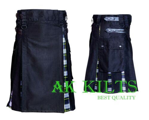 AK HOMME hybride noir 100/% coton Kilt avec Robe Gordon Tartan sangles en cuir