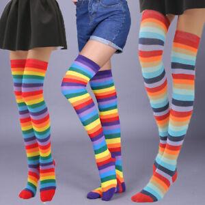 Femmes-Coton-Over-Knee-High-Socks-Rainbow-Stripes-Haut-Bas-Cuisse-Chaussettes