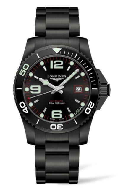New Longines Hydroconquest Black PVD Automatic Steel Men's Dive Watch L37422586