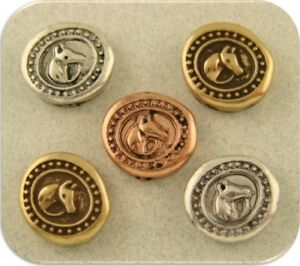 2 Hole Beads Horse Head Wax Seals ~Equestrienne~<wbr/>Western~Cowboy<wbr/>~ 3T Sliders QTY 5