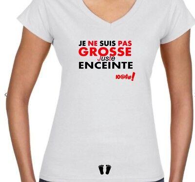 Tshirt T Shirt Femme Grossesse Accouchement Bebe Je Ne Suis Pas Grosse Blanc Ebay