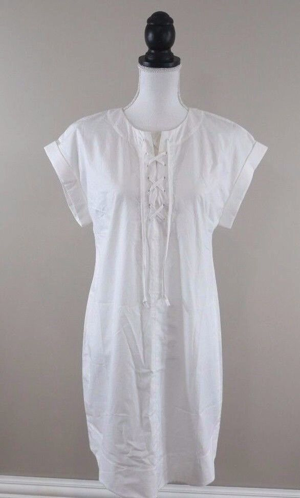J.Crew Women's Dress Size Medium Lace-Up Shirt Dress White Short Sleeve Cotton