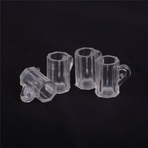 4pcs Dollhouse Miniature Plastic Clear Beer Mugs Cup Kitchen Accessory 1:12 LL