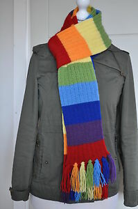 Adult-Knitted-rainbow-scarf-with-tassels-80-inches-Acrylic-NEW