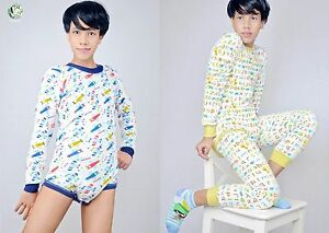 ABDL Adult Baby Onesie Pajamas Snap Button - ABC Cuties   Fly Babies ... 54240239c949