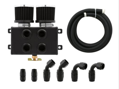8AN /& Hose Kit BK Twin Filter Dual Baffled Motor Oil Catch Can Tank Reservoir