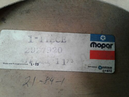 NOS Mopar Speedometer Cable # 2927920 Dodge Plymouth C Body