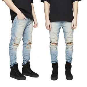La foto se está cargando Moda-para-Hombre-Pantalones-Jeans-Pantalones-Skinny -Denim- 5b425c14db55