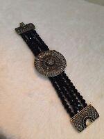 Heidi Daus Black Bead Belgium Disc Bracelet - M/l Size