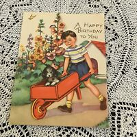Vintage Greeting Card Birthday Boy Wagon Dog Flowers