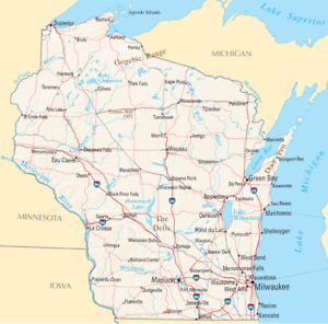 Wisconsin State Road Map Glossy Poster Picture Photo Print City