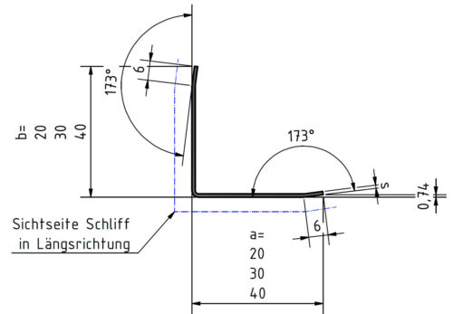 Edelstahl Kantenschutz Eckwinkel Eckschiene 2000mm 15x25mm 3-fach gekantet K320.