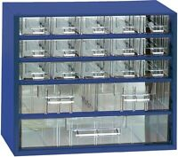 Kleinteilemagazin METALL blau 306x146x285 mm 15+2+1 Schubladen+10 Trennstege