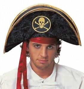Deluxe-Velvet-Pirate-Buccaneer-Black-Gold-Hat-Adult-Costume-Accessory