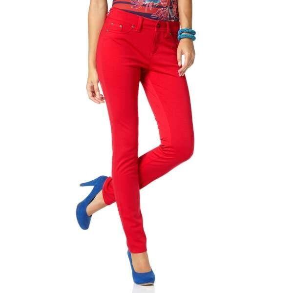 Laura Scott Femmes Jerseyhose Pantalon Jersey Skinny Chino Rouge 140483
