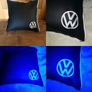 Glow-In-The-Dark-VW-Embroidered-Faux-leather-cushion-camper-van-Black-amp-White
