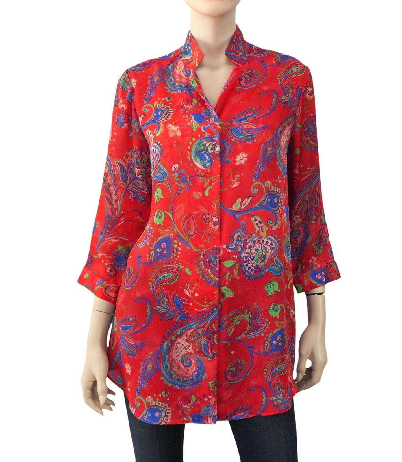 LEGGIADRO rot Silk Paisley Printed Button Down Shirt Tunic Blouse 12