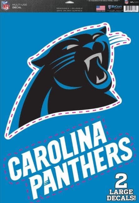 Carolina Panthers Logo vinyl Sticker Decal 8 x 4.4, White
