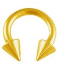"Horseshoe Heavy 2 Gauge 1/2"" w/Spikes 10mm Gold Plate Body Jewelry"