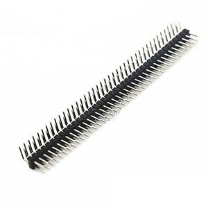 10 PCS 2.54mm 2 x 40 Pin Male Double Row Right Angle Pin Header Strip