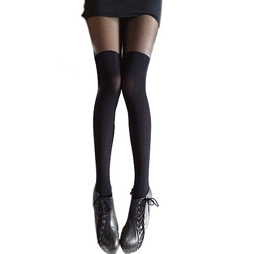 Women Attractive Black Gipsy Mock Ribbed Over Knee Tights Thigh High Pantyhose