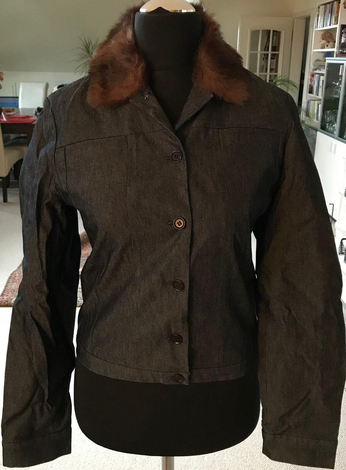 Schwarz-grau melierte Jeansjacke AYGILL's abnehmbaren Fellkragen Gr. 36 kurz gef