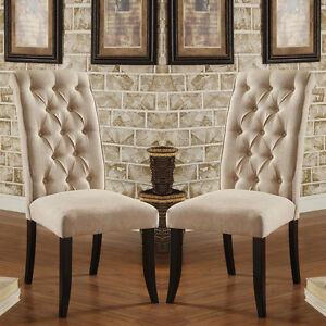 Set Of 2 Marshall Dining Chairs Ivory Padded Fabric Button