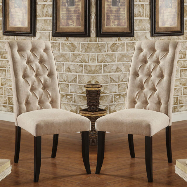 Bon Set Of 2 Marshall Dining Chairs Ivory Padded Fabric Button Tufted Chairback  Wood