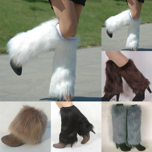 Winter Fashion Women/'s Girls Fluffy Fuzzy Faux Fur Leg Warmers Boot Covers Socks