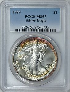 1989-1-Silver-Eagle-PCGS-MS-67-Nicely-Toned-ASE