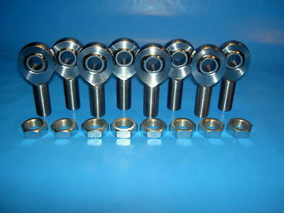 """8 qty 3/4"""" Thread with 5/8"""" Bore, Chromoly, Rod End / Heim Joint, With Jam Nuts"""