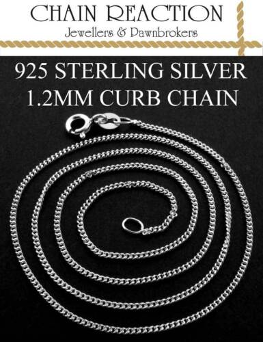 """925 STERLING SILVER CURB CHAIN 16/"""" 18/"""" 20/""""  FINE LINK NECKLACE PENDANT CHAIN BOX"""