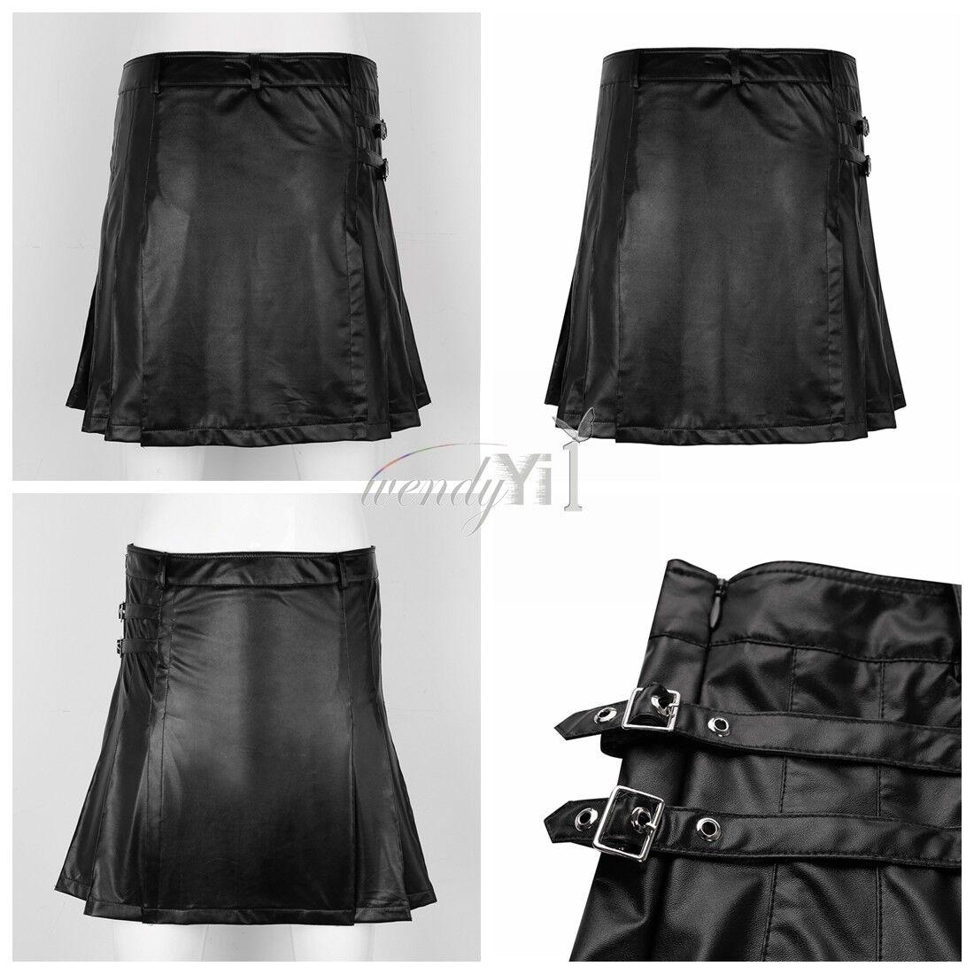 Vintage Men's Leather Straps Sport Utility Kilt Gladiator Pleated Split M-XL