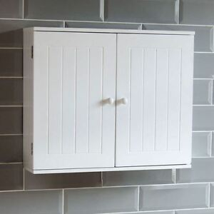bathroom wall cabinet double door storage cupboard wooden white by rh ebay co uk White Cabinets Wood Floor Bathroom Wall White Cabinets Wood Floor Bathroom Wall