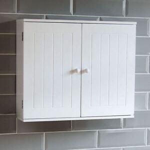 Image Is Loading Bathroom Wall Cabinet Double Door Storage Cupboard Wooden