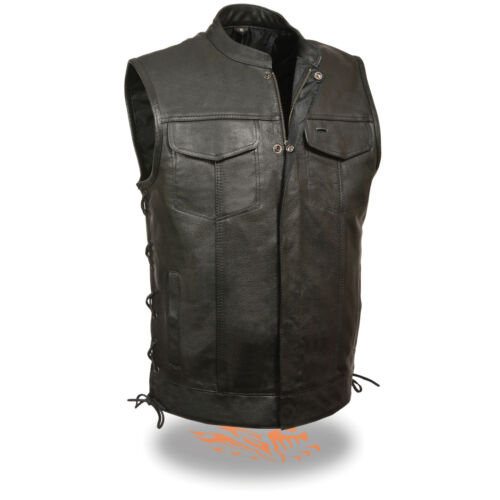 Leather Snap Men's Lkm3712 W Soa 2 Vest zipper Pockets Lace Front Side Gun Ax6fqx