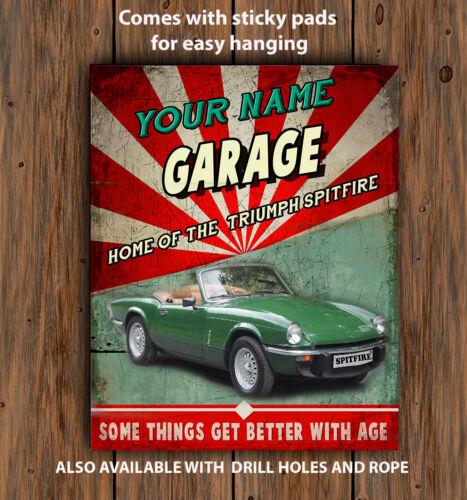 PERSONALISED  TRIUMPH SPITFIRE  GARAGE MAN CAVE   Retro Vintage  Metal Wall Sign