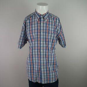 Nautica-Blue-Multicolor-Short-Sleeve-Button-Front-100-Cotton-Plaid-Shirt-Mens-L