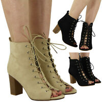 New Womens Ladies Open toe High Block Heel Cutout Lace Up Ankle Boots Shoes Size