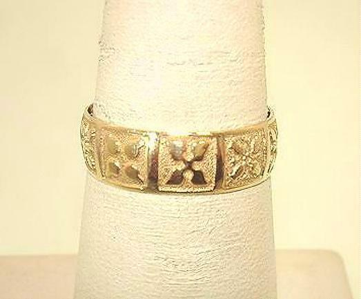 6mm Hawaiian Heirloom 14k Yellow gold Traditional Mixed Quilts Ring