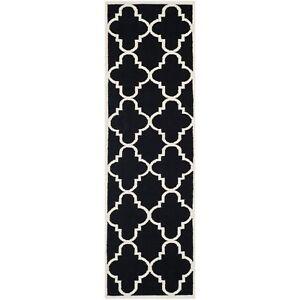 Image Is Loading Safavieh Flat Weave Wool Black Ivory 2 039